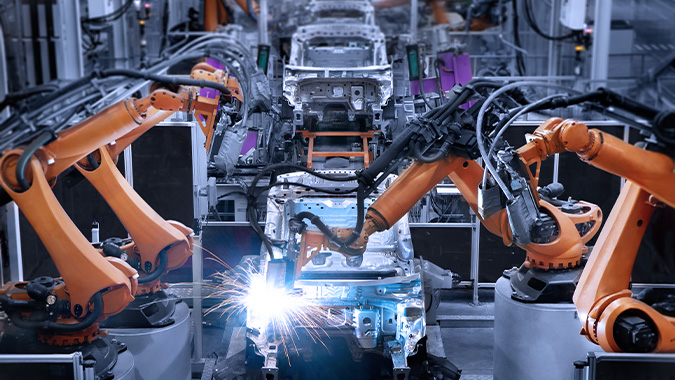 Welding robot in the car body production of a vehicle manufacturer