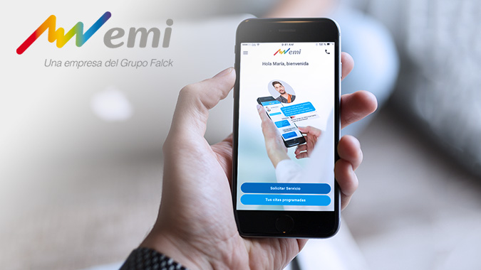 hand holding mobile phone showing medical app