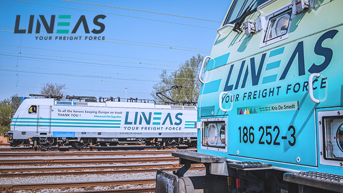 Trains of the private rail freight operator Lineas