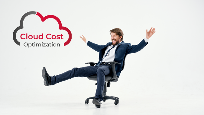 Businessman celebrating on a chair next to Cloud Cost Optimization logo