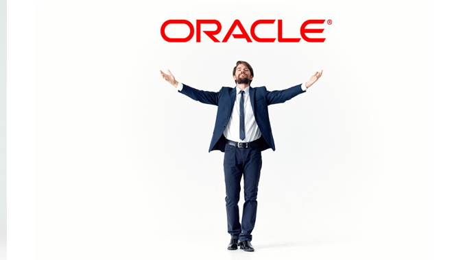 Businessman looking at Oracle logo