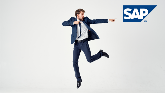 Businessman jumping in the air and pointing at SAP logo