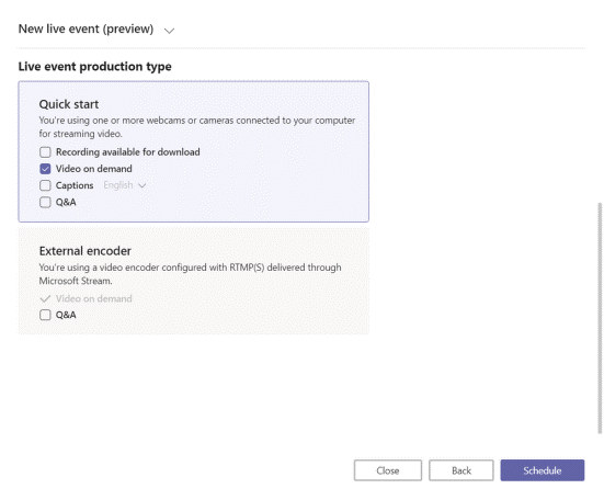Microsoft Live Events provisioning options