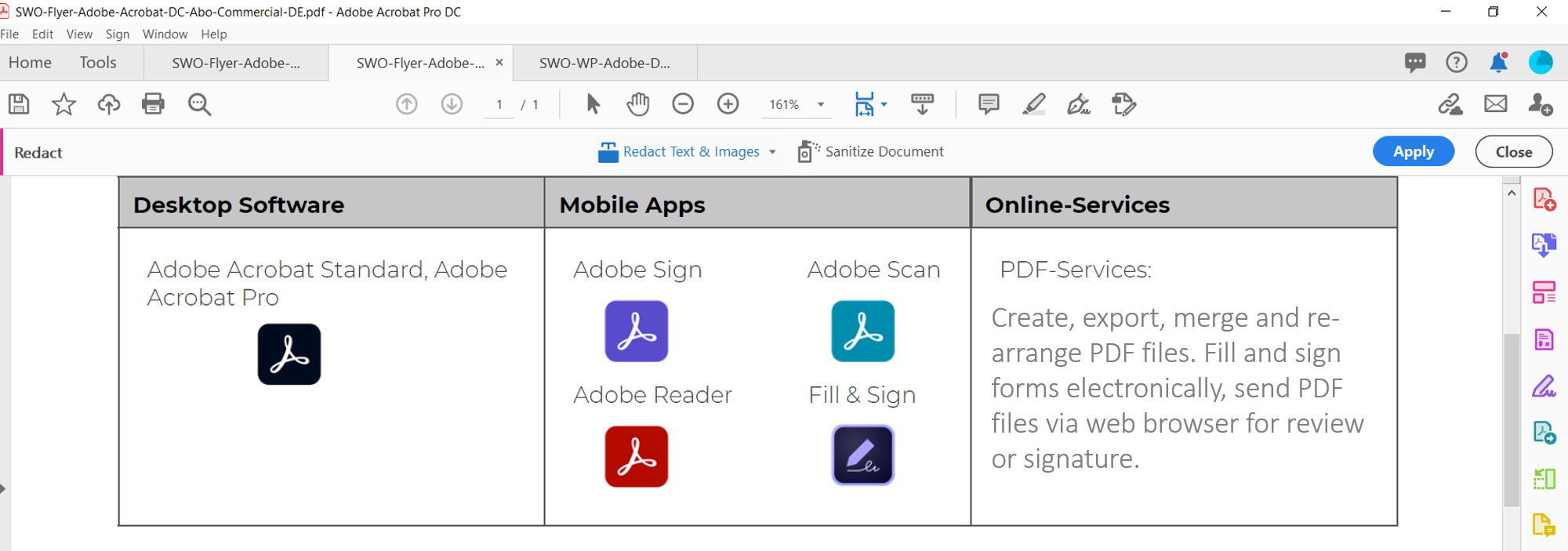 Document view with the Redact toolbar selected in Adobe Acrobat Pro