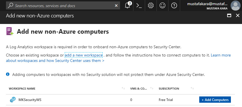 Azure JIT - Complete a new Workspace