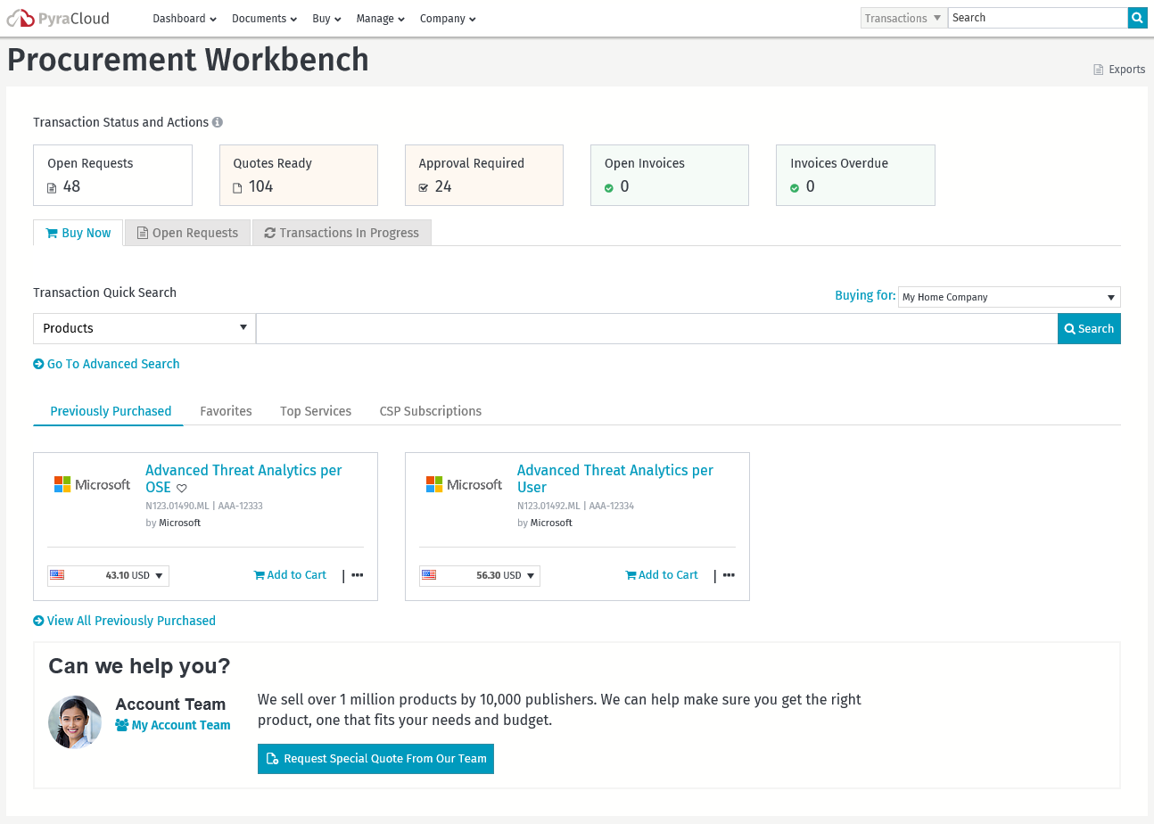 PyraCloud Procurement Workbench