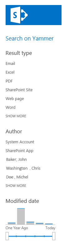 Section of the SharePoint Metadata Navigation Filters