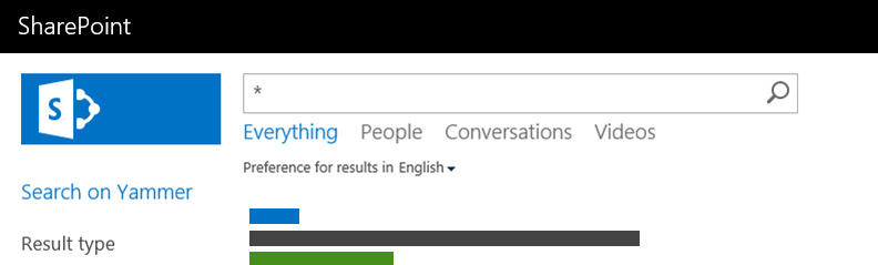 Section of the SharePoint search screen