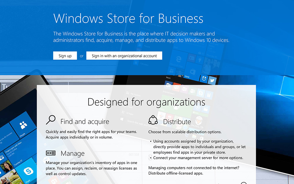 Signing up for the Windows Store for Business